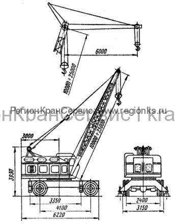 Габаритные размера крана самоходного КС-4361А (Юрмаш)